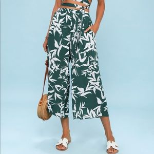 Obey Calico Forest Green & White Leaf Culottes